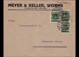 Inflation: Brief von Worms nach Zürich 7.9.1923