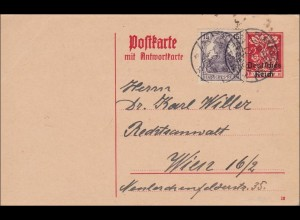 Inflation: Ganzsache von Planegg nach Wien Juli 1920