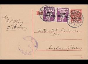 Inflation: Ganzsache von Bad Kiesingen nach Litauen 1921