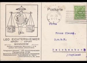 Inflation: Postkarte aus Mannheim nach Reichenbach/Vogtland 20.3.1923