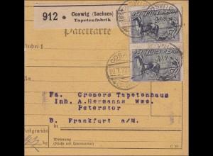 Inflation: Paketkarte von Coswig/Sachsen nach Frankfurt/M 26.7.1922