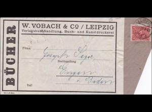 Inflation: Adressteil für Büchersendung von Leipzig 17.5.1922