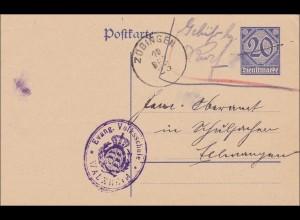 Inflation: Ganzsache Zöbingen/Walxheim - Ellwangen-Evang. Volksschule 10.12.1923