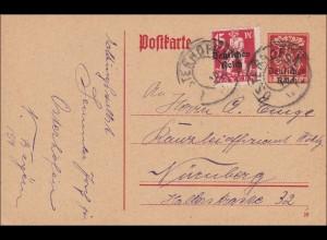 Inflation: Ganzsache von Osterhofen 1920 nach Nürnberg