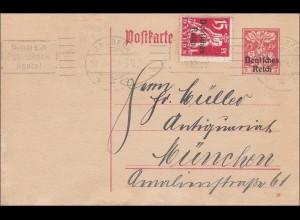 Inflation: Ganzsache von Bamberg nach München - Werbung Postscheckkonto - 1920