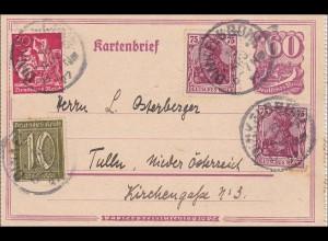 Inflation: Ganzsache von Dinkelsbühl nach Österreich 1922