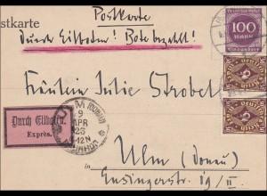 Inflation: Postkarte nach Ulm per Eilboten - Redaktion Simplicisimus 9.4.1923