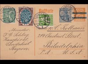 Inflation: Ganzsache von Landshut nach USA 1921