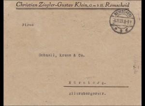 Inflation: Brief von Remscheid nach Nürnberg 6.11.1923