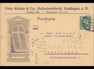 Weimar: Postkarte von Esslingen nach Nürtingen 1926