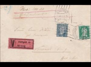 Weimar: Wertbrief von Stuttgart nach Neustadt bei Coburg 1927