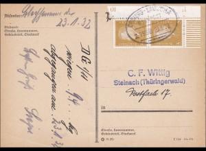 Postkarte - Eckrandstück - mit Bahnpoststempel Coburg - Lauscha 1932