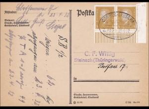 Weimar: Postkarte - Eckrandstück - mit Bahnpoststempel Coburg - Lauscha 1932