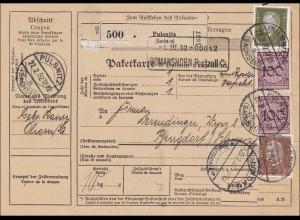 Weimar: Paketkarte von Pulsnitz / Sachsen in die Schweiz 1932