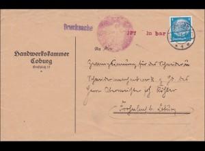 Weimar: Drucksache Brief von Coburg - Handwerkskammer - 1 Pfg. BAR