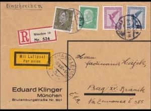 Weimar: Einschreiben-Luftpost von München nach Prag 1932