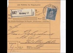 Weimar: Paketkarte von Nürnberg nach Wallenfels 1924