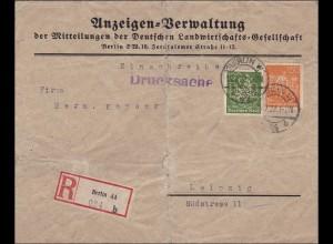 Inflation: Einschreiben von Berlin nach Leipzig als Drucksache 1922