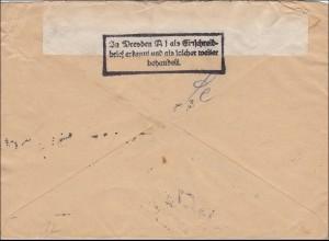 III. Reich: Feldpost Leoben beim Postamt Dresden als Einschreiben erkannt 1943