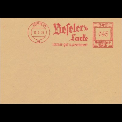 III. Reich: FRANCOTYP Archiv -Freistempel Beselers Lacke 1935
