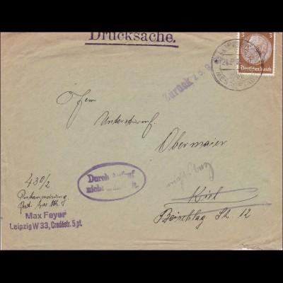 III. Reich: Drucksache von Leipzig nach Kiel - Aufruf erfolglos 1935
