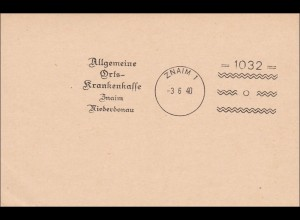 III. Reich: Muster - Werbestempel Druck AOK Znaim 1940, interessant