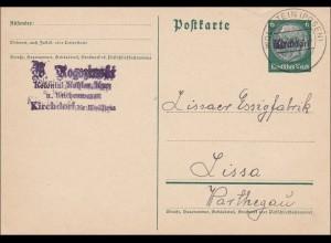 III. Reich:Ganzsache von Kirchdorf /Wolfstein/Posen nach Lissa im Warthegau 1940