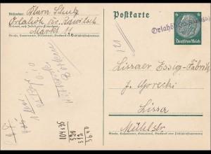 III. Reich: Ganzsache von Orlaliöh Kreis Rawitsch nach Lissa 1940