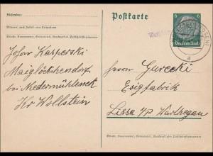 III. Reich: Maiglöckchendorf Niedermühleneck Wollstein Stempel Weltzberg 1940