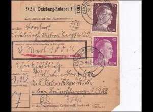 III. Reich: Paketkarte Duisburg-Rubrort an Schutzhäftling KL-Arbeitslager Drütte