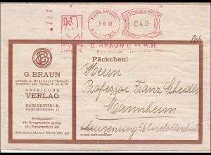 Päckchen Adressteil mit Freistempel von Karlsruhe nach Mannheim 1930