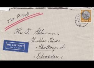 Luftpost Brief von Kustrin nach Schweden 1931