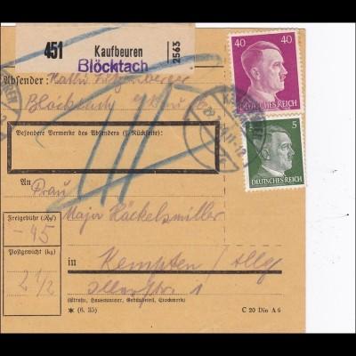 III. Reich: Paketkarte von Kaufbeuren /Blöcktach nach Kempten 1944
