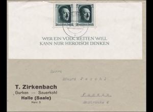 III. Reich: Brief von Halle nach Passau 1937