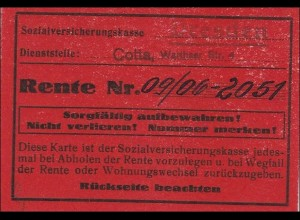 III. Reich: Rentenkarte aus Cotta bei Dresden