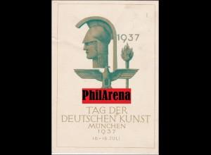 III. Reich: Propaganda Karte Tag der Deutschen Kunst München 1937 nach Ulm