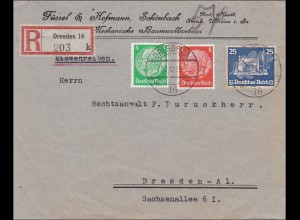 III. Reich: Einschreiben innerhalb von Dresden - seltene Frankatur 1935