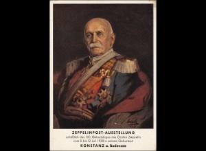 III. Reich: Zeppelin Ausstellung 1938 mit AK Graf Zeppelin Sonderstempel 1938