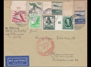III. Reich: Luftpostbrief Frankfurt -Hannover Luftschiff Europa-Nordamerika 1936