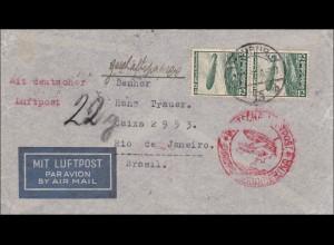III. Reich: Luftpostbrief Hamburg - Brasilien mit Luftschiff Zeppelin 1936, MeF