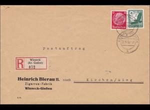 III. Reich: Einschreiben von Wieseck-Gießen nach Kirchen/Sieg 1939