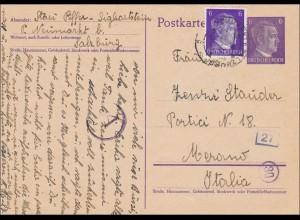 III. Reich: Ganzsache von Salzburg nach Merano mit Zensur 1942