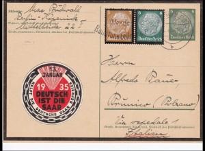III. Reich: Ganzsache von Berlin nach Italien Vignette 1935 Deutsch ist die Saar