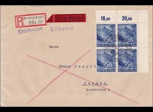 III. Reich: Einschreiben - Eilboten von Marburg nach Passau mit Eckrand VB 1941