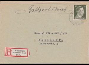 III. Reich: Einschreiben Feldpost-nur R-Gebühr bezahlt von Miesenheim 1943