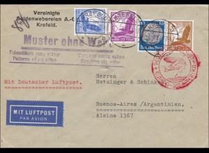 III. Reich: Muster ohne Wert, Luftpost von Krefeld nach Argentinien 1937