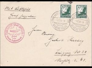 III. Reich: Brief mit Luftschiff ins Sudetenland 1938 nach Leipzig