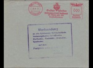 III. Reich: WURFSENDUNG von Neustadt/Coburg frankiert mit 000 Freistempel 1937