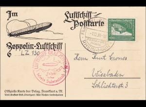 III. Reich:Luftschiff Postkarte LZ 130 ins Sudetenland - Wiesbaden 1938