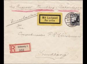 III. Reich: Luftpost Hamburg-Kopenhagen von Schleswig nach Dänemark 1934